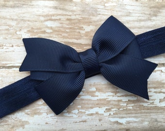 Navy blue baby headband - baby headbands, bow headbands, newborn headbands, baby headband, baby bow headband, baby girl headband, navy blue