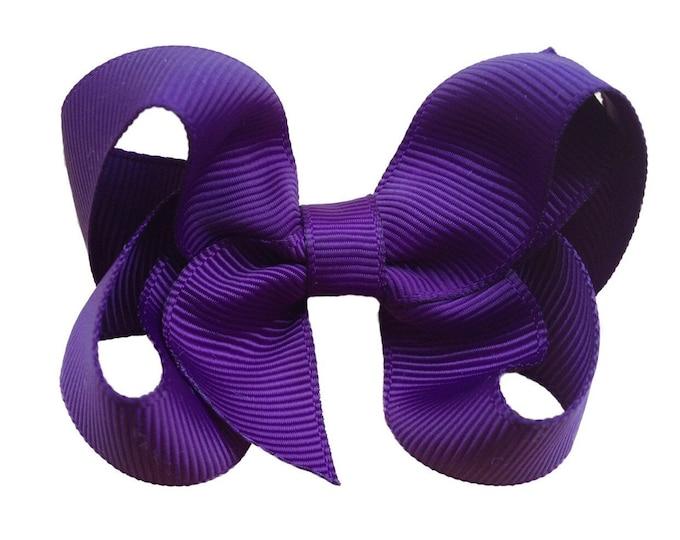 Dark purple hair bow - purple bows, hair bows for girls, baby bows, toddler hair bows, 3 inch hair bows
