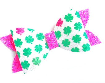 St. Patrick's Day hair bow - hair bows, bows for girls, glitter bows, toddler hair bows, 4 inch hair bows