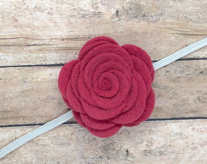English rose felt flower baby headband - baby headband bows, baby girl headbands, baby bow headbands, newborn headbands, baby bows