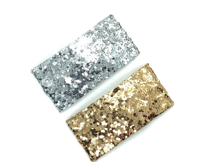 Glitter snap clips - hair bows, baby bows, girls hair bows, silver bows, toddler bows, gold bows