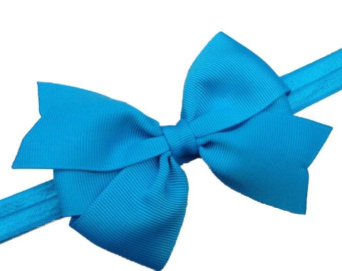 Blue baby headband - baby girl headband, baby headband bows, newborn headband, baby bows, baby bow headband, bows