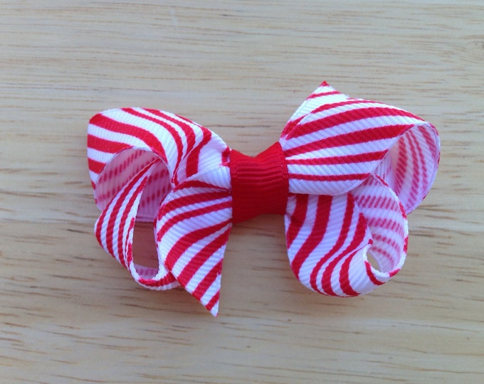 Candy cane hair bow - Christmas hair bow, red & white striped bow, hair bows, baby bows, girls bows, small bows
