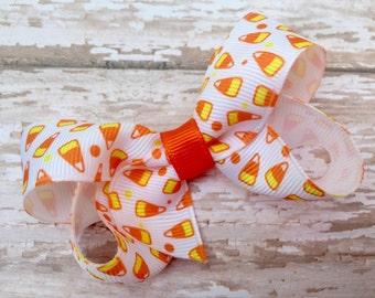 Halloween hair bow - orange hair bow, candy corn bow, 3 inch bows, girls hair bows, toddler bows, halloween bows