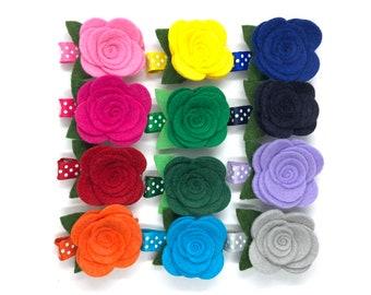 Felt flower hair clip - hair clips, hair bows, bows for girls, baby bows, felt bows, felt flowers, toddler bows