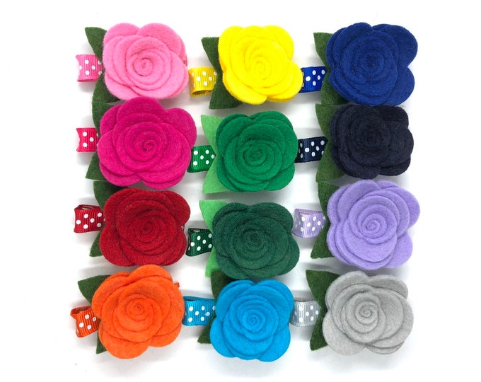 Felt flower hair clip - hair clips, hair bows, bows for girls, baby bows, felt bows, felt flowers, toddler bows