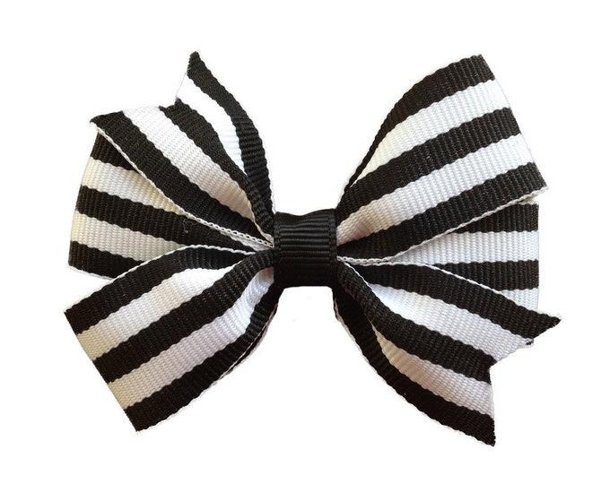 Black & white hair bow - hair bows, bows for girls, baby bows, girls hair bows, toddler hair bows, pigtail bows