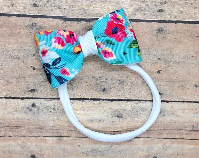 Nylon baby headband - baby girl headband, baby headband bows, baby bows, newborn headband, baby bow headband, baby girl