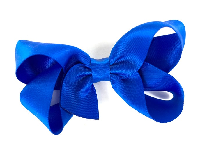 Satin hair bow - Royal Blue hair bows, bows for girls, hair clips, baby bows, girls hair bows, toddler bows
