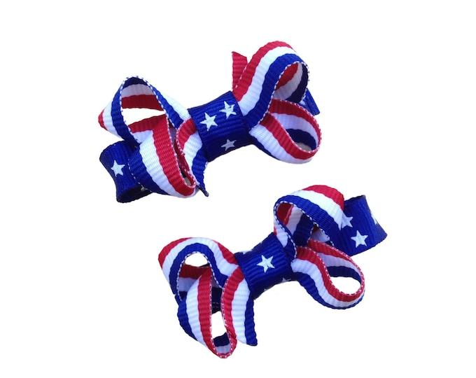 Fourth of July baby bows - baby bows, hair bows, fourth of july bows, hair clips, baby hair bows, girls hair bows
