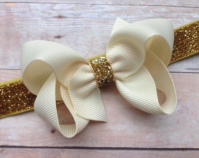 Ivory & gold baby headband - gold baby headband, baby girl headband, baby headband bows, newborn headband, baby bows, baby bow headband