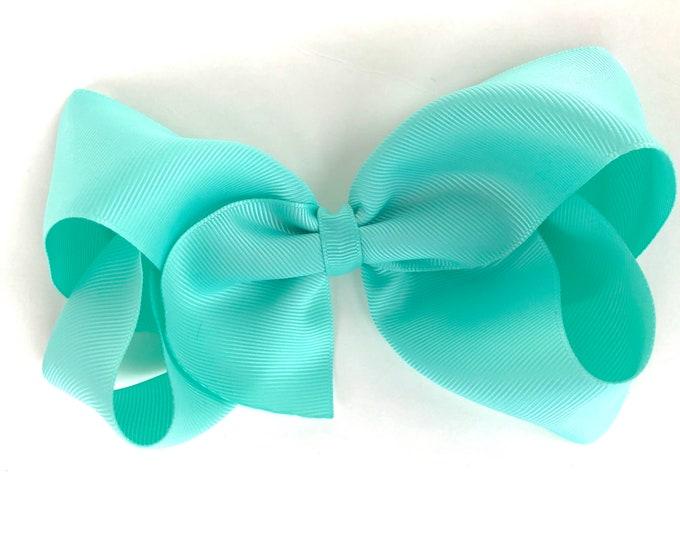Extra large hair bow - 6 inch hair bows, aqua hair bow, cheer bows, big hair bows, hair bows for girls