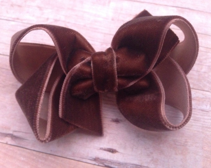 Brown velvet hair bow - 3 inch hair bow, boutique bow, girls hair bows, velvet hair bows, hair bows