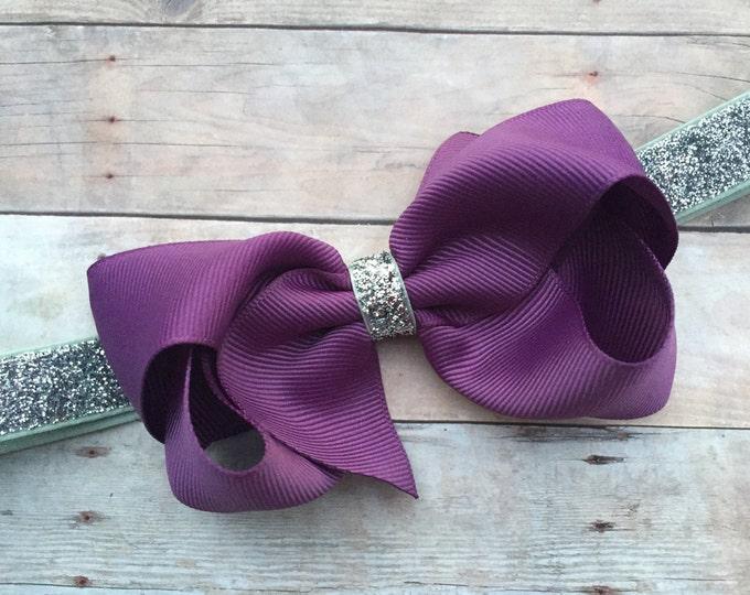 Purple baby headband - baby headband, baby headbands, baby headband bows, newborn headbands, baby bows, bows, baby girl headbands, hair bows