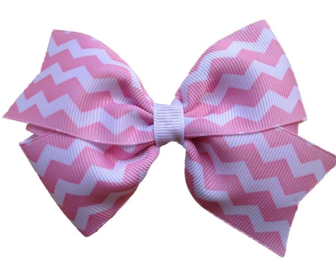 Pink hair bow - hair bows for girls, toddler hair bows, 4 inch hair bows, chevron hair bow