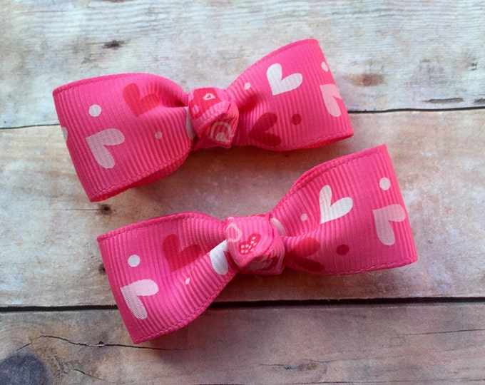 Valentine's Day hair bows - hair bows for girls, baby bows, toddler hair bows, pigtail bows, pink bows, hair clips