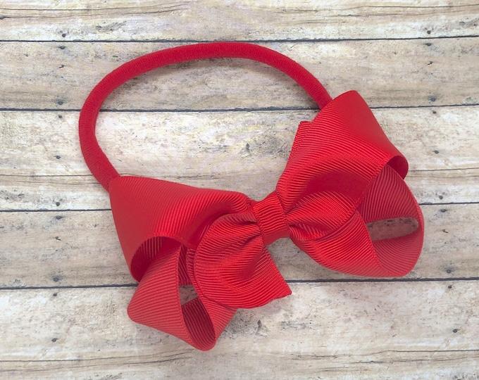 Poppy red baby headband - baby girl headband, nylon headband, baby headband bows, newborn headband, baby bows, baby bow headband, hair bows