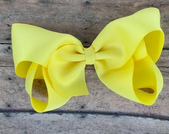 Extra large hair bow - 6 inch hair bows, lemon yellow hair bow, cheer bows, big hair bows, girls hair bows
