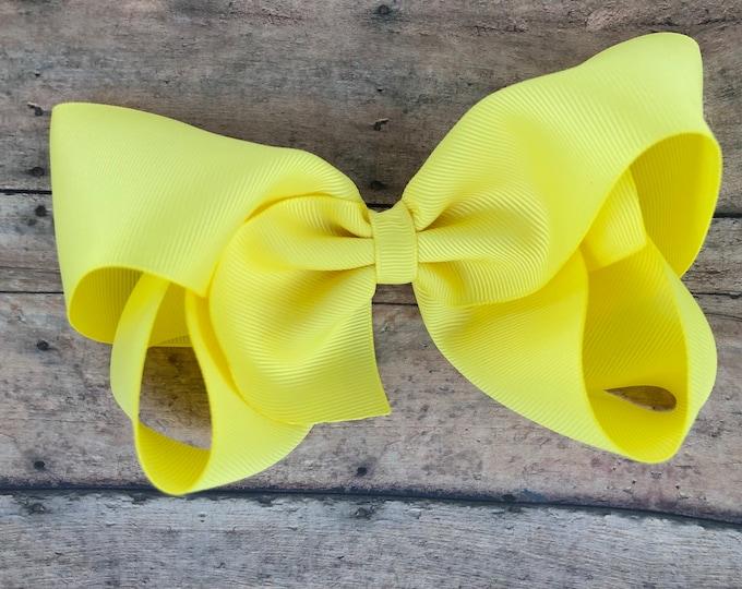Large hair bow - 6 inch hair bows, lemon yellow hair bow, cheer bows, big hair bows, girls hair bows