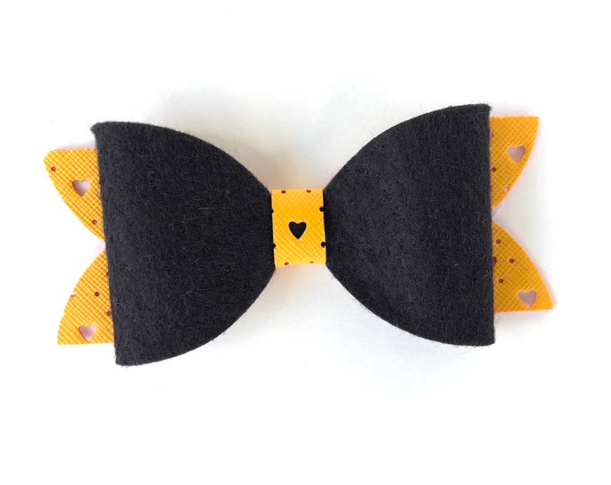 Black & yellow gold hair bow - hair bows for girls, faux leather bows, 4 inch hair bows