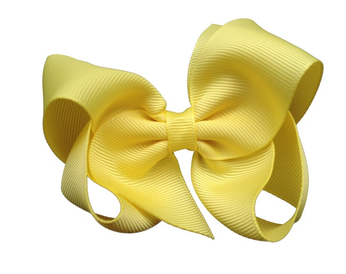 Lemon yellow hair bow - hair bows, bows for girls, baby bows, toddler bows, boutique bows, big hair bows