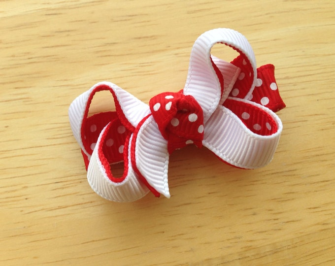 Baby hair bow - red and white hair bows, baby bows, baby hair clips, bows for girls, toddler hair bows, pigtail bows