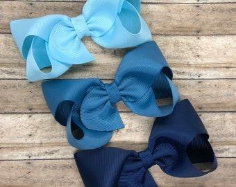 Blue hair bow set - hair bows, bows, hair bows for girls, baby bows, hair clips, toddler bows, boutique bows, 4 inch hair bows