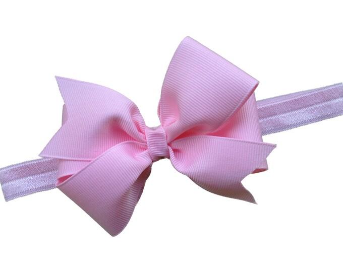 Light pink baby headband - baby headband bows, baby girl headbands, baby bows, baby bow headbands, newborn headbands