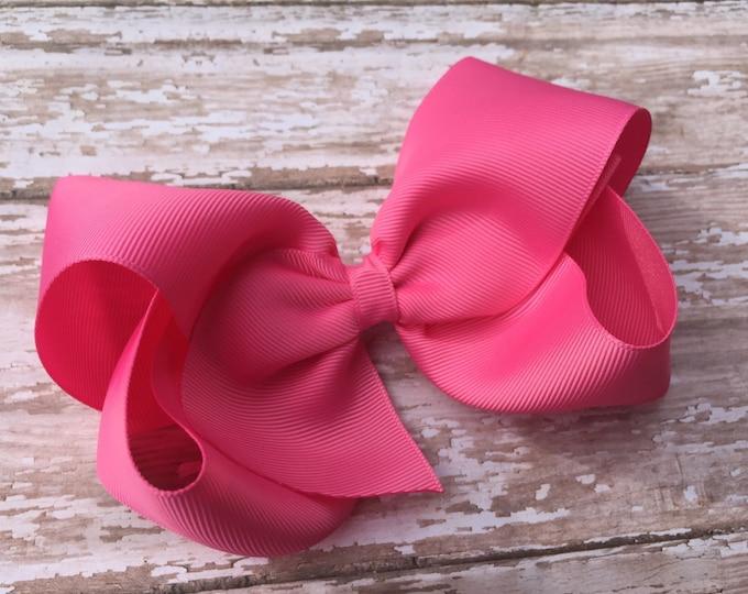 Large hair bow - 6 inch hair bows, pink hair bows, cheer bows, big bows, bows for girls, toddler hair bows