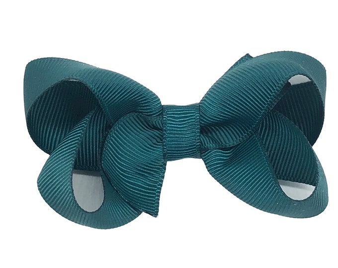 Teal hair bow - hair bows, girls bows, baby bows, pigtail bows, hair clips for girls, toddler hair bow