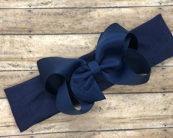 Navy blue baby headband - baby headband, baby girl headband, newborn headband, baby bow headband, head wrap, baby bows