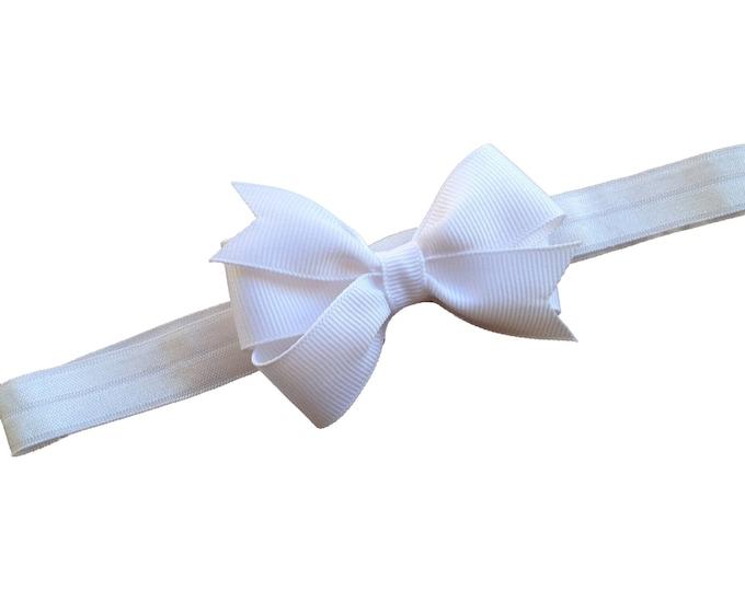 White baby headband - white bow headband, baby headband bows, baby girl headbands, newborn headband, baby bows, hair bows
