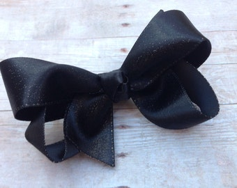 Black gold hair bow - hair bow, bows, hair bows for girls, baby bows, toddler hair bows, boutique bows, pigtail bows, girls bows, black bows