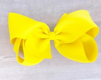 Big hair bow - 6 inch hair bows, cheer bows, yellow bows, big bows, hair bows for girls, toddler bows