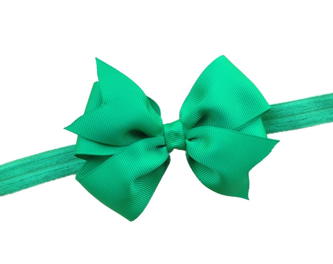 Green baby headband - baby girl headband, baby headband bows, newborn headband, baby bows, baby bow headband