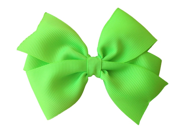 Key lime hair bow - hair bows, bows for girls, baby bows, toddler bows, 4 inch hair bows, green bows, big hair bows