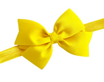 Yellow baby headband - baby headband bows, baby girl headbands, newborn headbands, baby bows, hair bows