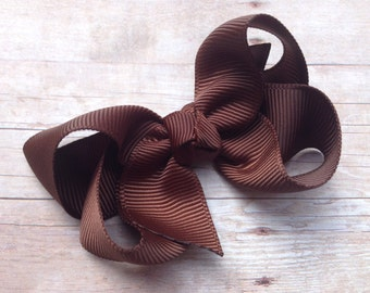Brown hair bow - hair bows for girls, baby bows, pigtail bows, toddler hair bows, 3 inch hair bows