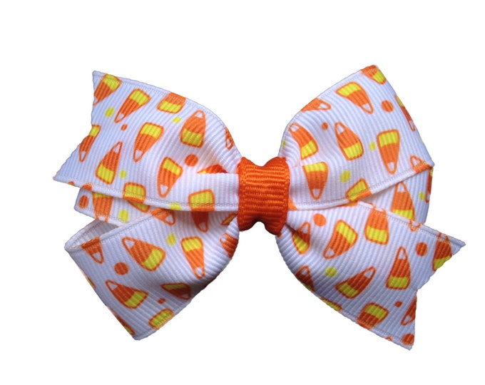 Halloween hair bow - orange bow, candy corn bow, 3 inch bows, pinwheel bows, girls halloween bows, girls hair bows, toddler bows, baby bows