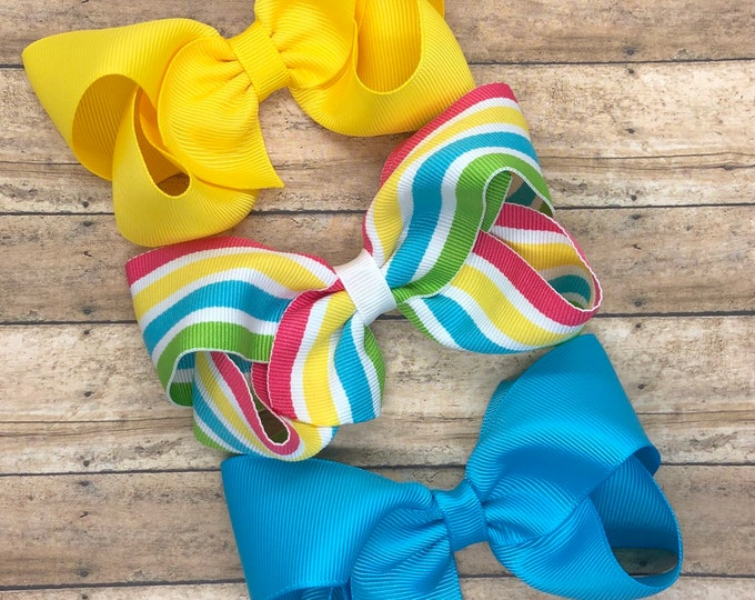 Hair bow set - hair bows, bows, hair bows for girls, baby bows, hair clips, toddler bows, boutique bows, 4 inch hair bows