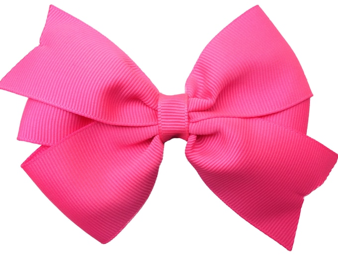 Pink hair bow - hair bows for girls, toddler bows, girls bows, pigtail bows, 4 inch hair bows, big bows