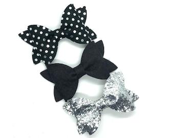 Set of 3 hair bows - glitter bows, felt bows, hair bows, girls bows, baby bows, girls hair bows, bows for girls, hair clips, toddler bows