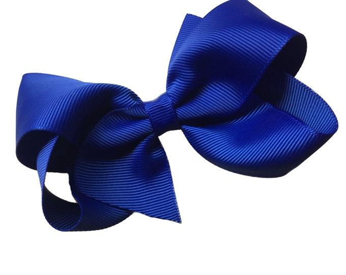 Cobalt blue hair bow - hair bows, bows for girls, boutique bows, toddler hair bows, big bows, 4 inch hair bows
