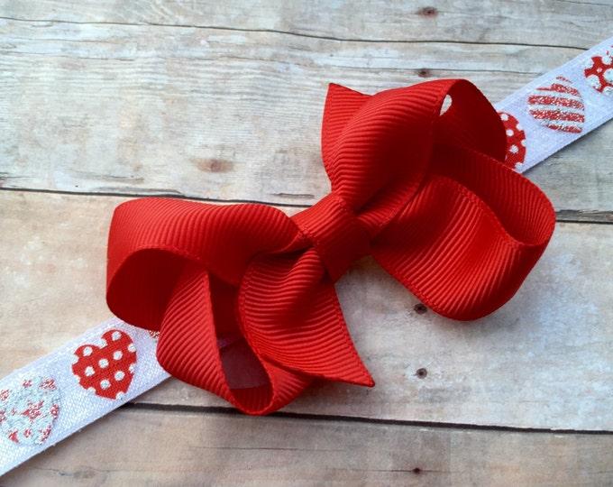 Valentine's Day headband - heart headband, baby headband, baby bow headband, baby bows, toddler bows, red baby headband
