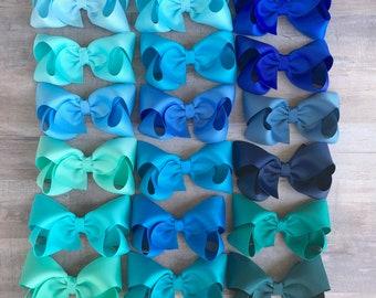 YOU PICK blue hair bow - hair bows, bows for girls, hair clips, baby bows, boutique bows, toddler bows, big hair bows