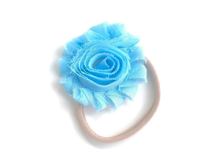 Light blue baby headband - nylon headband, baby girl headband, baby headband bows, newborn headband, baby headbands, baby bows, baby girl