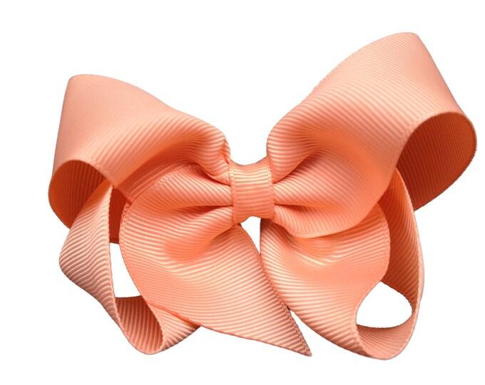 Peach hair bow - hair bows, bows for girls, toddler hair bows, boutique bows, baby bows, 4 inch hair bows