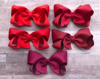 YOU PICK Red hair bow - hair bows, bows for girls, baby bows, toddler hair bows, girls hair bows, boutique hair bows, hair clips