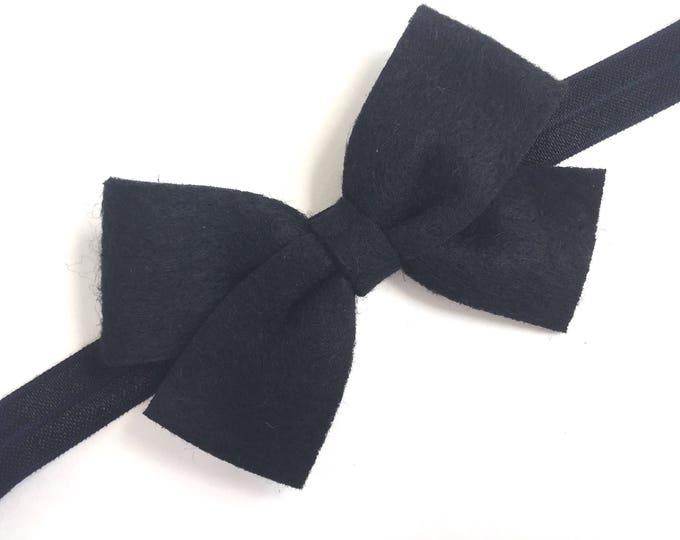 Black baby headband - baby headband bows, baby girl headband, newborn headband, baby bows, baby hair bows