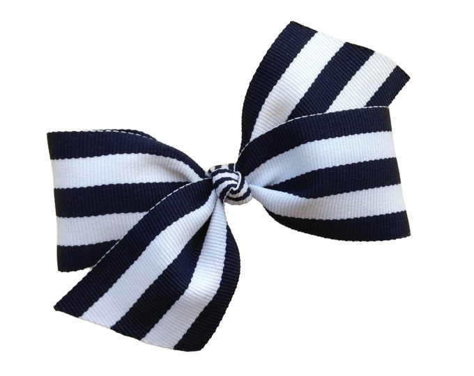 Navy blue hair bow - hair bows, baby bows, pigtail bows, toddler hair bows, girls hair bows, hairbows